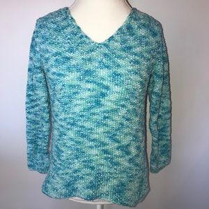 J.jill Blue Vneck Sweater Small Top turquoise blue